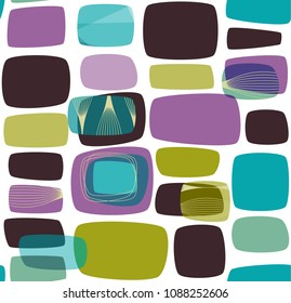 Abstract retro background, teal, lilac and green elements, vector illustration