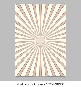 Abstract retro explosion page template - vector brochure background graphic with radial stripe pattern