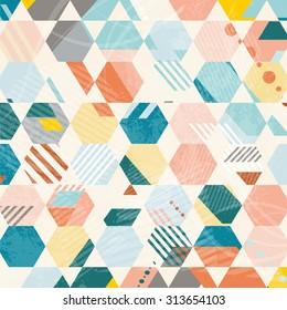 Abstract Retro Geometric hexagonal pattern. Vector Illustration