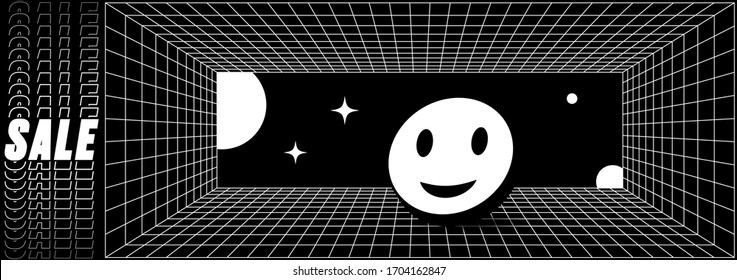 Abstract retro grid banner with smiling 3d emoji and perspective vector grid. Vector template with sale typography and geometric objects. Trendy modern design element in black and white