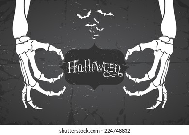 Abstract retro grunge halloween background. Vector illustration