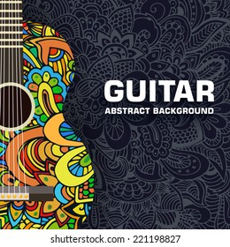 Abstract retro music guitar on the background of the ornament. Vector illustration concept design