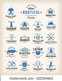 Abstract Retro Nautical Labels Collection. Vintage Sea Emblems, Signs or Logo Templates. Whales, Anchors, Octopus, Marmaid, etc. with Classic Typography. Isolated.
