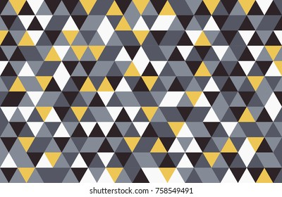 Abstract retro pattern of geometric shapes. Colorful yellow grey black white mosaic backdrop. Geometric hipster triangular background, vector