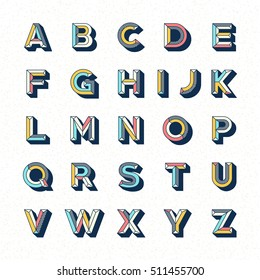 Abstract retro pop font alphabets set