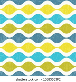 Abstract retro seamless pattern with horizontal wave lines. Vector illustration