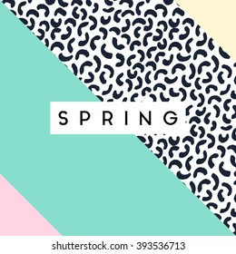 Abstract retro style geometric design in black, white and pastel colors. Spring greeting card, poster, brochure design.