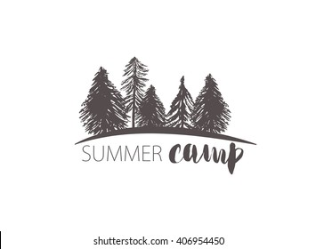 Abstract retro vector camping emblem. Outdoor activity symbol with grunge fir and pine trees landscape background