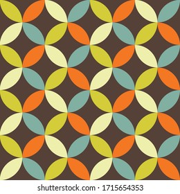 Abstract retro vector pattern. Vividly colored funky repeating pattern in 70s style. Perfect for wallpapers, backgrounds, textile, fabric.