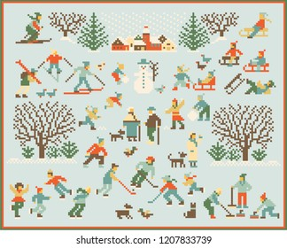 Abstract retro winter activity scene, vector illustration. Trendy embroidery inspired pixel style. Great for decoration templates, wallpaper and sticker, apparel and editorial design, home decor etc.