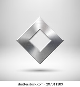 Abstract rhombic badge, blank button template with metal texture (chrome, silver, steel), realistic shadow and light background for web user interfaces, UI, applications and apps. Vector illustration.