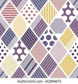 Abstract rhombuses seamless vector pattern. Tribal texture. Geometric boho style background