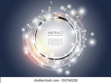 Abstract ring background. Metal chrome shine round frame with light circles and spark light effect. Vector sparkling glowing stainless steel cover. Space for your message.
