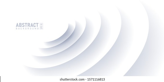 Abstract ripple effect on white background. circle shape with shadow in paper cut style vector illustration.