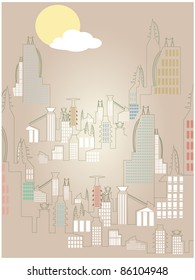 Abstract Rising Cityscape Bright Simple Sun Cloud vector illustration
