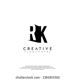 abstract RK logo letter in shadow shape design concept