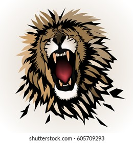 Abstract roaring  lion , beautiful lion , king . African lion . African animal .African predator