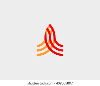 Abstract rocket logo design template. Start arrow building logotype. Outline construction vector logo.