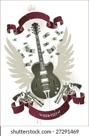 Abstract rock-n-roll image with two revolvers, guitar, ribbon and money
