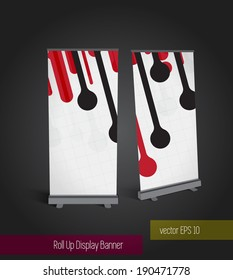 Abstract roll up banner display template for designers, vector eps 10