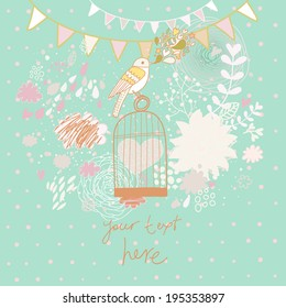 Abstract romantic card in summer colors. Bright background with bird, cage, flowers and clouds. Freedom concept wallpaper