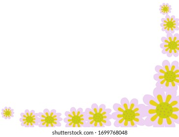 Abstract romantic flowers horizontal on white background.