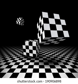 Abstract room with three flying checkered cubes