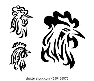 Abstract Rooster Head Tattoo Symbol Logo