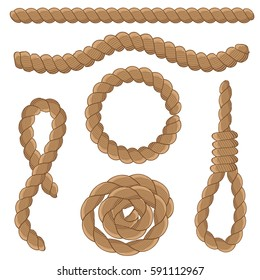 Abstract rope elements set. Marine knots. Vector illustration.