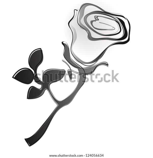 Abstract Rose Black White Vector Stock Vektorgrafik