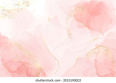 Abstract rose blush liquid watercolor background with golden lines, dots and stains. Pastel marble alcohol ink drawing effect. Vector illustration design template for wedding invitation.