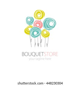 Abstract Rose flower icon and logo in pastel colors. Can be used for flower store, beauty salon, spa or yoga studio.Icon of three flowers. Flat style floral symbol