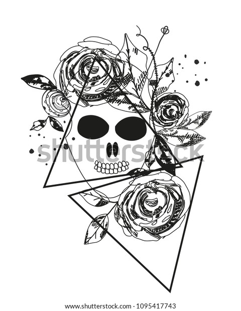 Abstract Rose Silhouette Skull Triangle Geometric Stock
