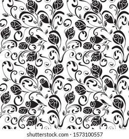 Abstract roses monochrome seamless pattern