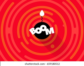 Abstract round comic BOOM background. Simple rounded line geometric shapes. Radial comics style cartoon banner. Explosion vector background. Flat bomb with fire burning wick. Red, white, black color