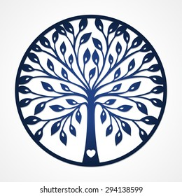 Abstract round frame with cut-out tree silhouette. May be used for laser cutting. Lazercut tree card. Vector framed silhouette design. Simple tree for paper cutting. Round stencil frame.