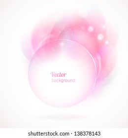 Abstract round frame with pink elements. Vector background.