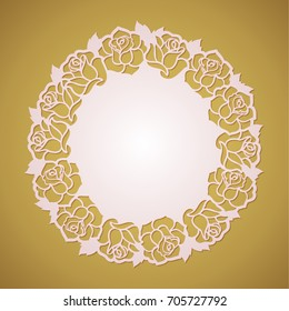 Abstract round frame with rose flowers for laser cutting. Lasercut floral place mat with vector cutout roses. Botanical party decoration placemat template.
