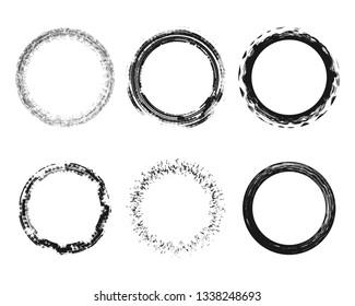 Abstract round grunge texture circles splattered dirty effect set design element vector