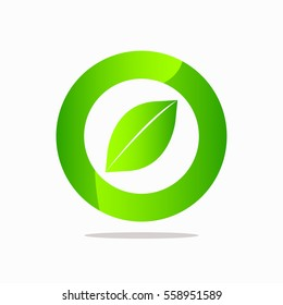 Abstract  round leaf logo template elements green