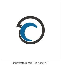 abstract round letter c logo design