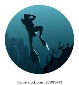 Abstract round logo of illustration of scuba divers under water in dark blue tone.