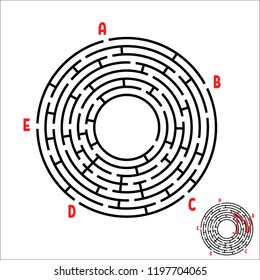 Abstract round maze. Game for kids. Children's puzzle. Five entrances, one exit. Labyrinth conundrum. Simple flat vector illustration isolated on white background. With the answer.
