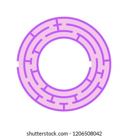 Abstract round maze. Game for kids. Puzzle for children. One entrance, one exit. Labyrinth conundrum. Flat vector illustration isolated on white background.