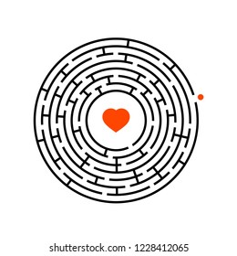Abstract round maze. Game for kids. Puzzle for children. One entrance, one exit. Labyrinth conundrum. Flat vector illustration