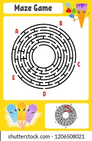 Abstract round maze. Kids worksheets. Game puzzle for children. Cute cartoon ice cream. One entrances, one exit. Labyrinth conundrum. Vector illustration. With answer.