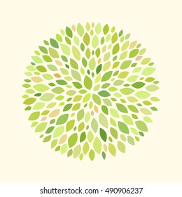 Abstract round pattern with leaves