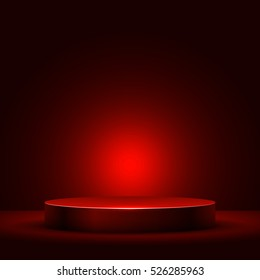 Abstract round podium illuminated with red light vector background. Stage backdrop.