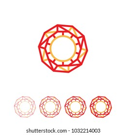 Abstract round shape frame. Polygonal triangle circle logo. Decagon geometric crystal. Linear vector illustration form.