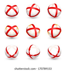 Abstract round vector design elements with red ribbons. Set of corporate business icons.